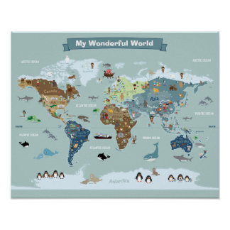 Póster Mapa del mundo de los niños con las imágenes y los