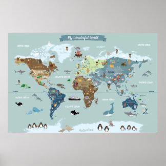 Póster Mapa del mundo de los niños con los ilustraciones