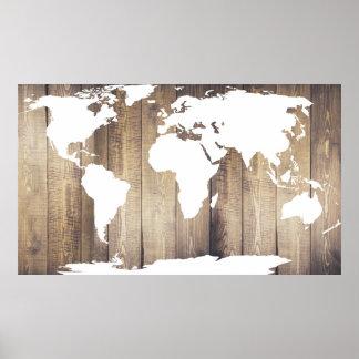 Póster Mapa del mundo de madera rústico del blanco de los