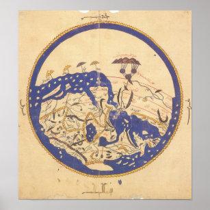Póster Mapa del mundo del al-Idrisi's