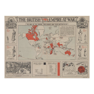 Póster Mapa del mundo del Imperio británico del vintage