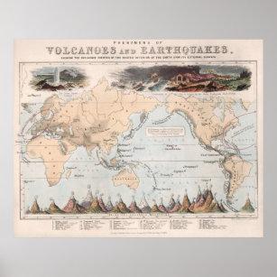 Póster Mapa del mundo del volcán y del terremoto del
