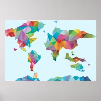 Póster Mapa del mundo hecho de formas geométricas