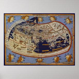 Póster Mapa del mundo Ptolemaic antiguo, Juan de Arnsheim