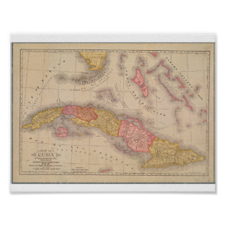 Póster Mapa del poster del vintage de Cuba