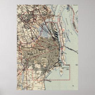 Póster Mapa del vintage de Alabama móvil (1940)