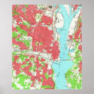 Póster Mapa del vintage de Alexandría Virginia (1965)