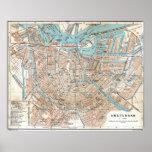 Póster Mapa del vintage de Amsterdam (1905)