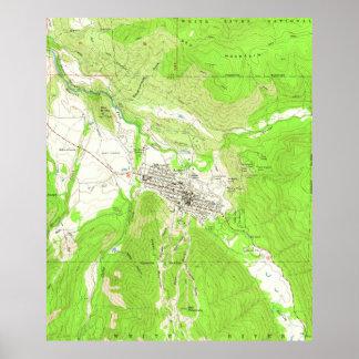 Póster Mapa del vintage de Aspen Colorado (1960)
