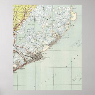 Póster Mapa del vintage de Atlantic City NJ (1941)