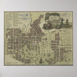 Póster Mapa del vintage de Baltimore Maryland (1805)