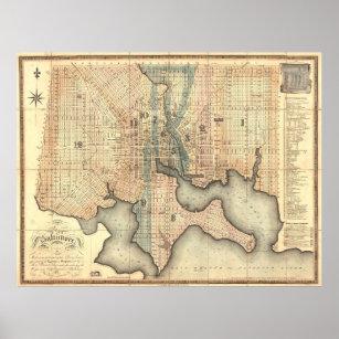 Póster Mapa del vintage de Baltimore Maryland (1822)