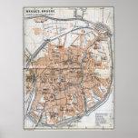 Póster Mapa del vintage de Brujas (1905)