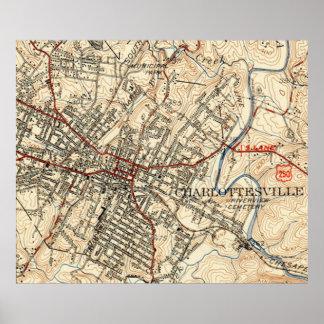 Póster Mapa del vintage de Charlottesville Virginia