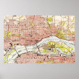 Póster Mapa del vintage de Davenport Iowa (1953)
