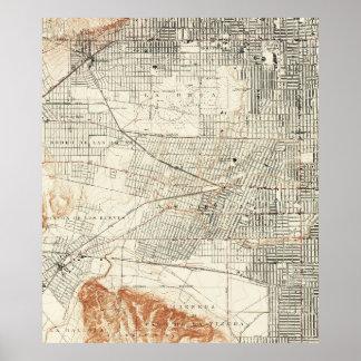 Póster Mapa del vintage de Hollywood California (1924)