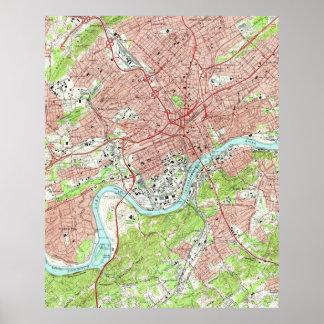 Póster Mapa del vintage de Knoxville Tennessee (1966)