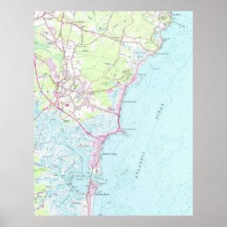 Póster Mapa del vintage de la playa NH (1957) de Hampton