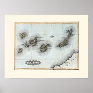 Póster Mapa del vintage de las islas Canarias