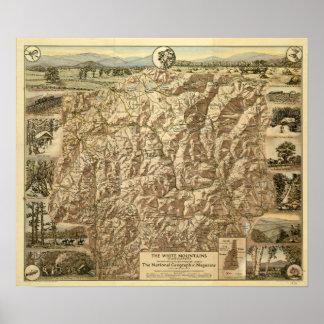 Póster Mapa del vintage de las montañas blancas New