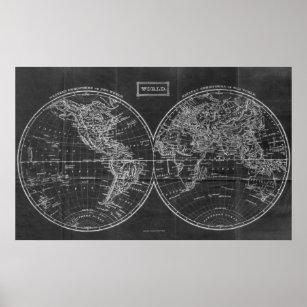 Póster Mapa del vintage de los 1857) negros y blancos del