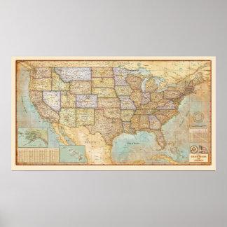 Póster Mapa del vintage de los Estados Unidos de América