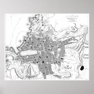 Póster Mapa del vintage de Marsella Francia (1840) BW