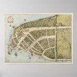 Póster Mapa del vintage de New Amsterdam (1660)