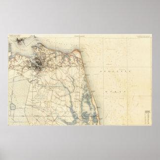 Póster Mapa del vintage de Norfolk y de Virginia Beach