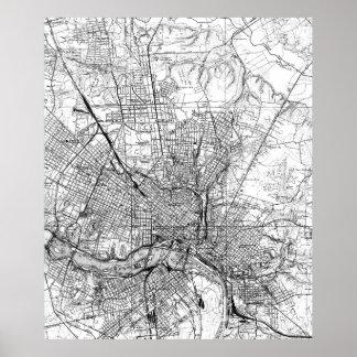 Póster Mapa del vintage de Richmond Virginia (1934) BW
