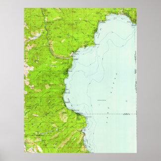 Póster Mapa del vintage de Tahoe California (1955)
