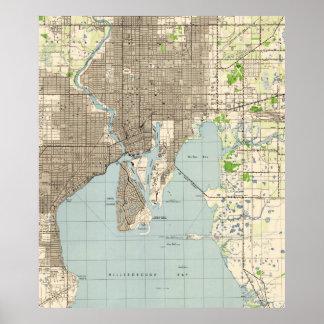 Póster Mapa del vintage de Tampa la Florida (1944)