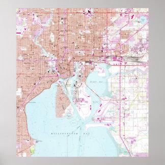 Póster Mapa del vintage de Tampa la Florida (1956)