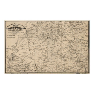 Póster Mapa del vintage de Tennessee occidental (1865)
