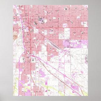 Póster Mapa del vintage de Tucson Arizona (1957)