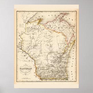 Póster Mapa del vintage de Wisconsin 1852