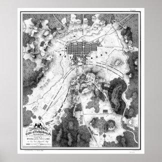 Póster Mapa del vintage del campo de batalla de