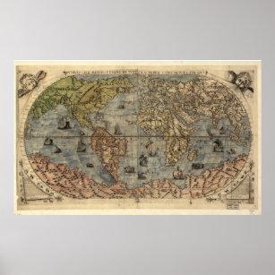 Póster Mapa del vintage del mundo (1565)