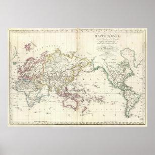 Póster Mapa del vintage del mundo (1816)