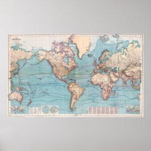 Póster Mapa del vintage del mundo (1897)