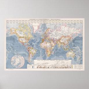 Póster Mapa del vintage del mundo (1900)