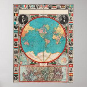 Póster Mapa del vintage del mundo (1913)