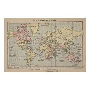 Póster Mapa del vintage del mundo (1914)