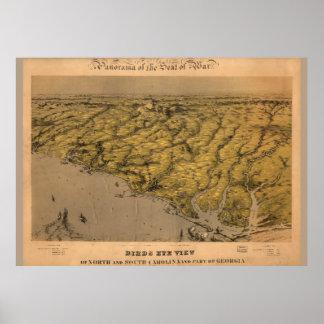 Póster Mapa del vintage del poster 1861 de Carolina del