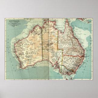 Póster Mapa detallado continente australiano antiguo del