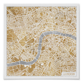 Póster Mapa dorado de la ciudad de Londres