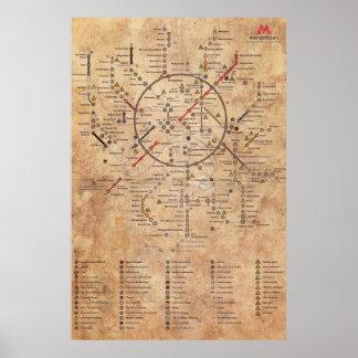Póster Mapa envejecido del metro 2033