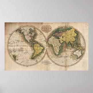 Póster MAPA HEMISFÉRICO del MUNDO 1795