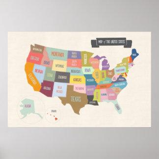 "Póster Mapa ilustrado de América 24 x 36"" poster de la"