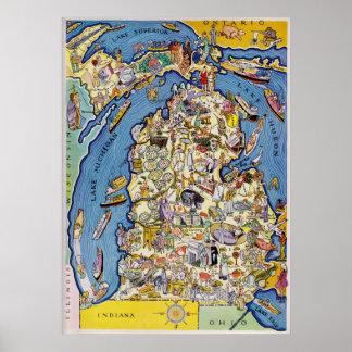 Póster mapa ilustrado de Michigan de los años 30